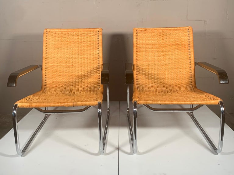 Stainless Steel Pair of Classic Marcel Breuer B35 Chairs ICF