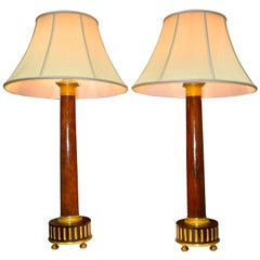 Pair of Classical French Empire Mahogany Column Lamps with Gilt Bronze Trim