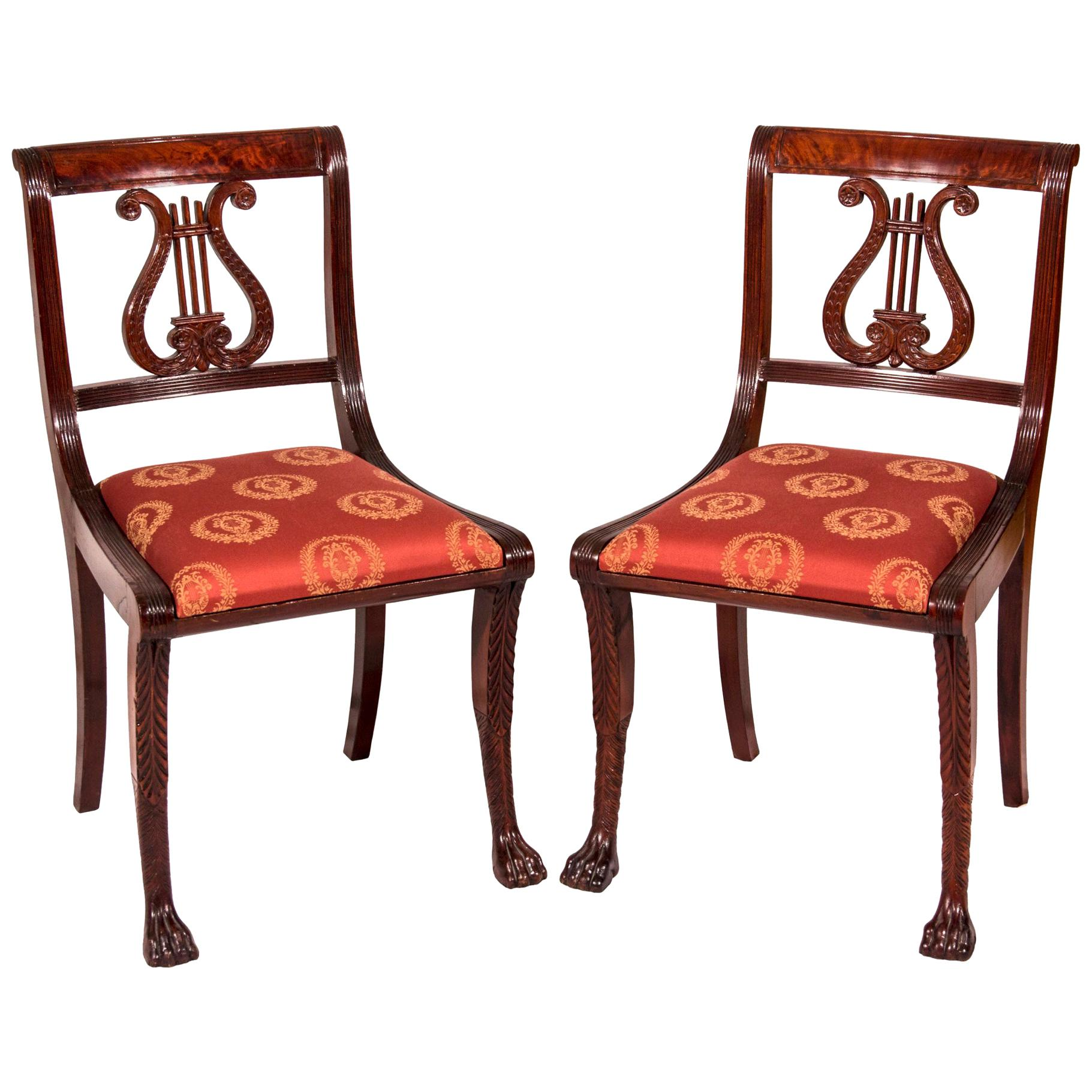 Pair of Classical Lyre-Back Mahogany Side Chairs with Paw Feet, Phyfe school