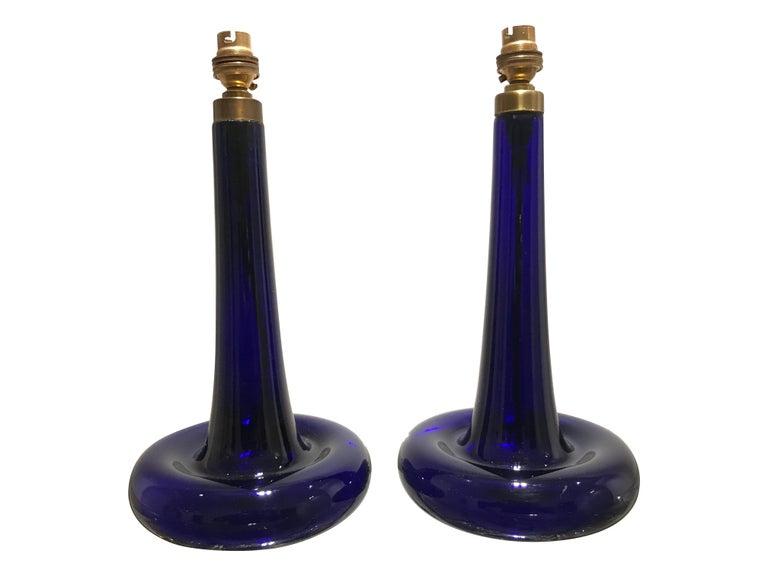 Mid-Century Modern Pair of Cobalt Blue