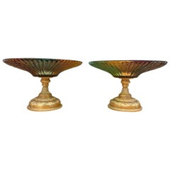 Pair of Color Glass Tazze, 20th Century
