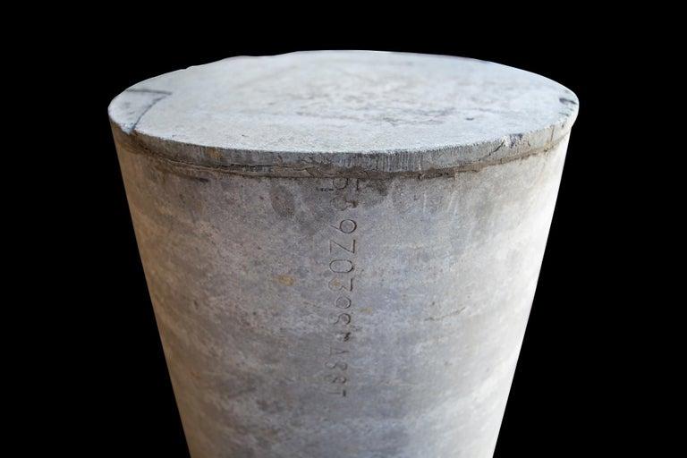 Brutalist Pair of Concrete Cylinder Pedestal Tables, France, 1960s