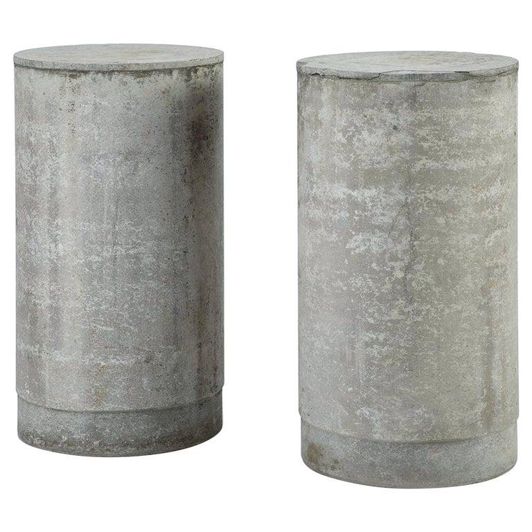 Pair of Concrete Cylinder Pedestal Tables, France, 1960s