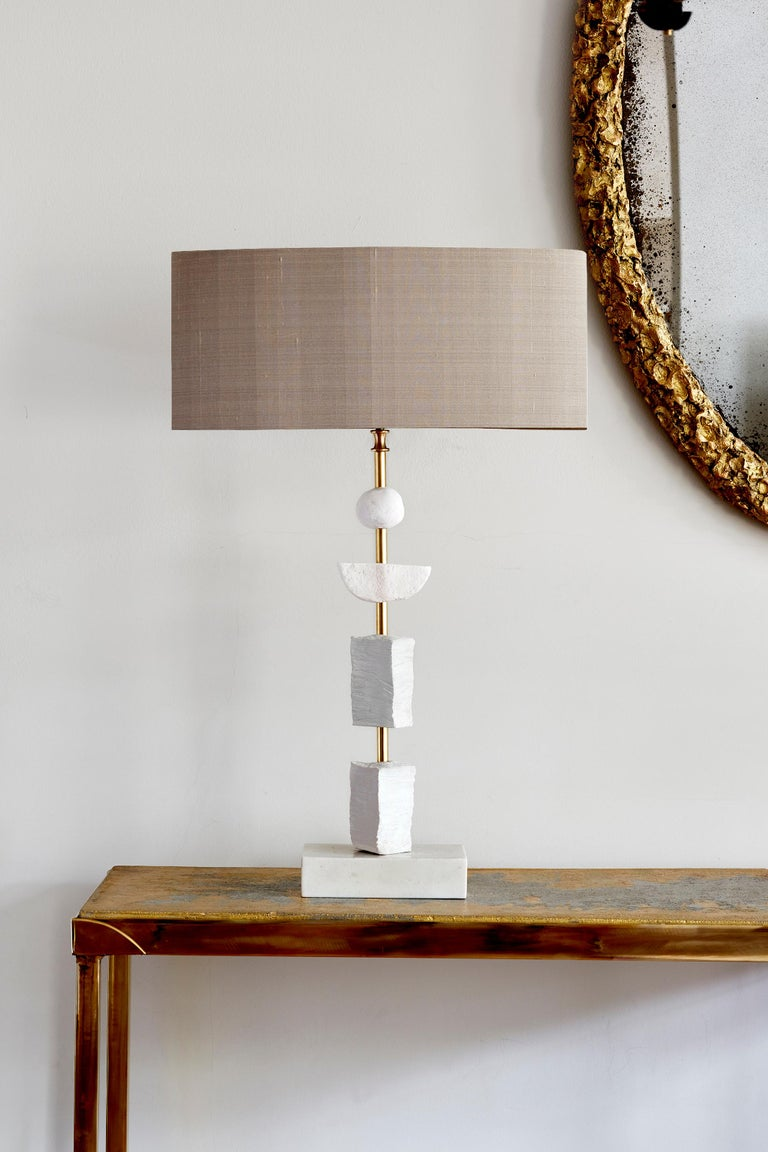Modern Pair of Contemporary European Table Lamp Synergy in White by Margit Wittig For Sale