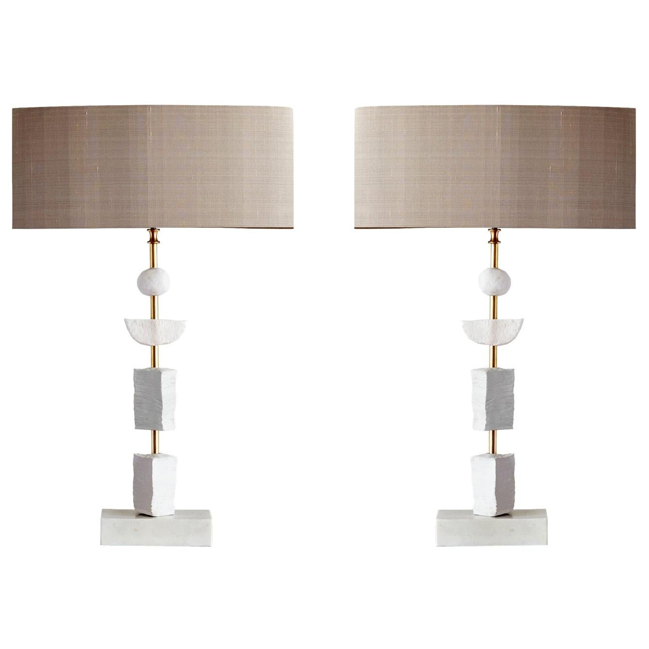 Pair of Contemporary European Table Lamp Synergy in White by Margit Wittig