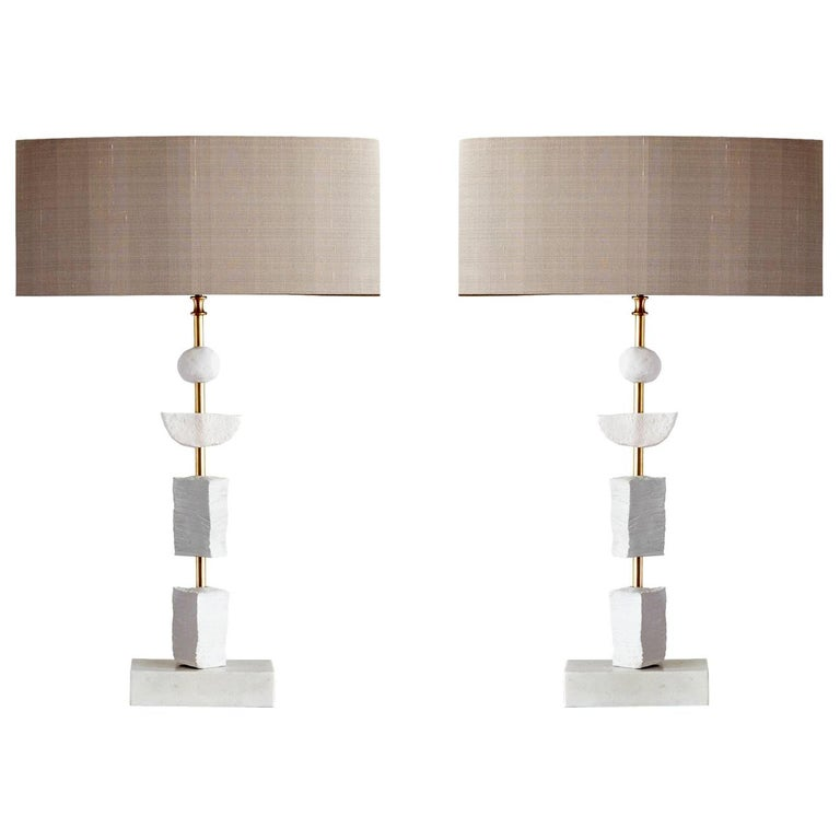 Pair of Contemporary European Table Lamp Synergy in White by Margit Wittig For Sale