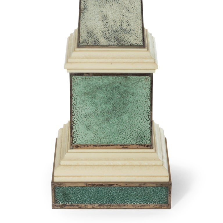 Alabaster Pair of Contemporary Grey and Aquamarine Shagreen and Obelisks For Sale