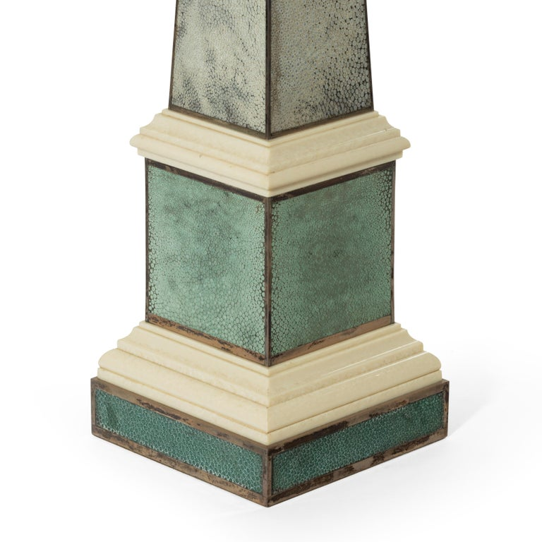 Pair of Contemporary Grey and Aquamarine Shagreen and Obelisks For Sale 1