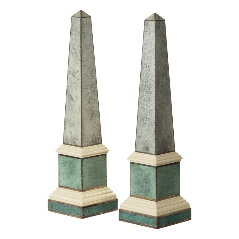 Pair of Contemporary Grey and Aquamarine Shagreen and Obelisks For Sale