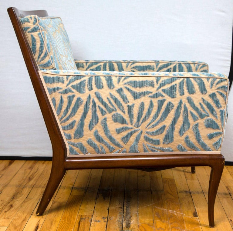 Art Deco Pair of Contemporary Upholstered Walnut Lounge Chairs For Sale