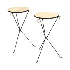 Pair of Contemporary Wrought Iron and Brass Drink Tables with Parchment Tops