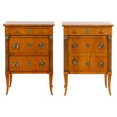 A Pair of Continental Bronze Mounted Birch Side Tables, Pristine Condition.