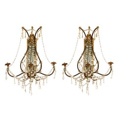 Pair of Continental Giltwood Wrought Iron Mirror Back Sconces