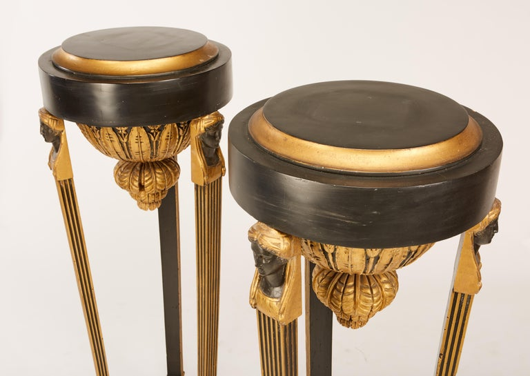 Pair of Continental Neoclassic Black Painted and Parcel-gilt Torcheres, Italian For Sale 3