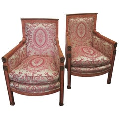 Pair of Coral Painted Empire Armchairs with Silk Upholstery