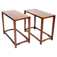 Pair of Corner-Leg Ming Style Console Tables