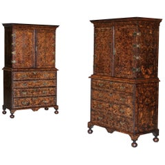 Pair of Coxed and Woster Mulberry Cabinets on Secretaire Chests