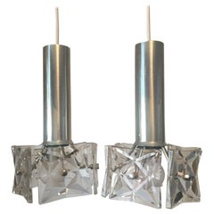 Pair of Crystal and Chrome Kinkeldey Pendants from 1970s