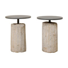 Pair of Custom Side Tables with Mill Grinding Stone Bases and Iron Tops