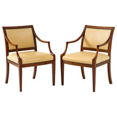 Pair of Danish Mahogany Open Armchairs by Frits Henningsen, circa 1940s