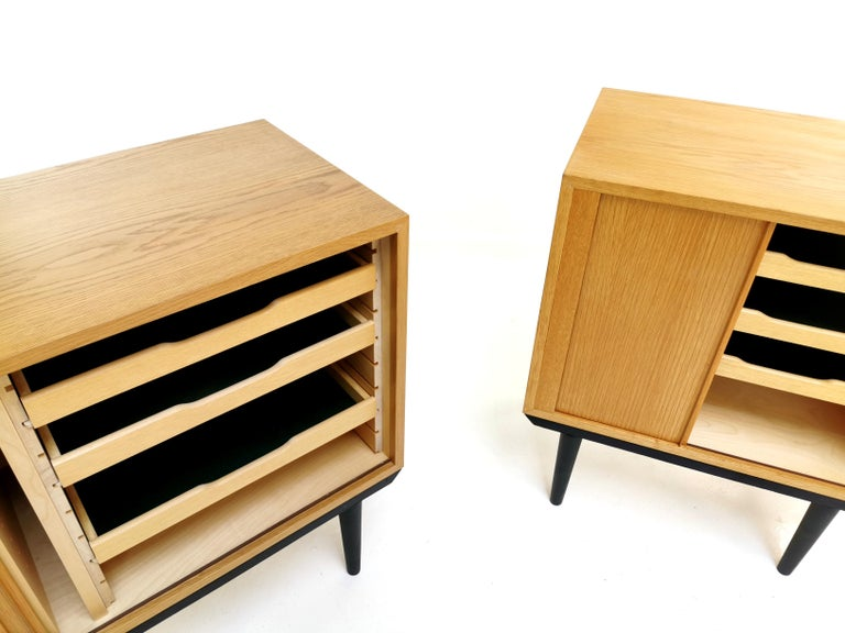 Scandinavian Pair of Danish Midcentury Tambour Cabinets by Hundevad, 1970s For Sale