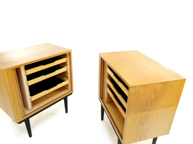Pair of Danish Midcentury Tambour Cabinets by Hundevad, 1970s In Good Condition For Sale In STOKE ON TRENT, GB