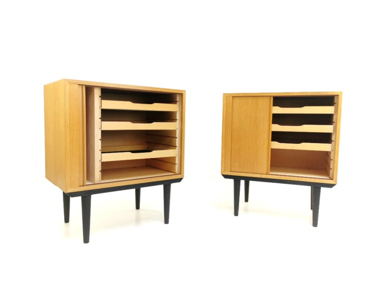 Oak Pair of Danish Midcentury Tambour Cabinets by Hundevad, 1970s For Sale