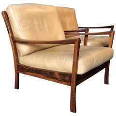 Danish Rosewood Lounge Chairs, A Pair, Midcentury, Tan Leather