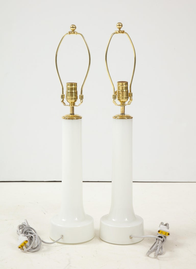 Neoclassical Revival Pair of Danish Milk Glass and Brass Mounted Table Lamps, circa 1940s