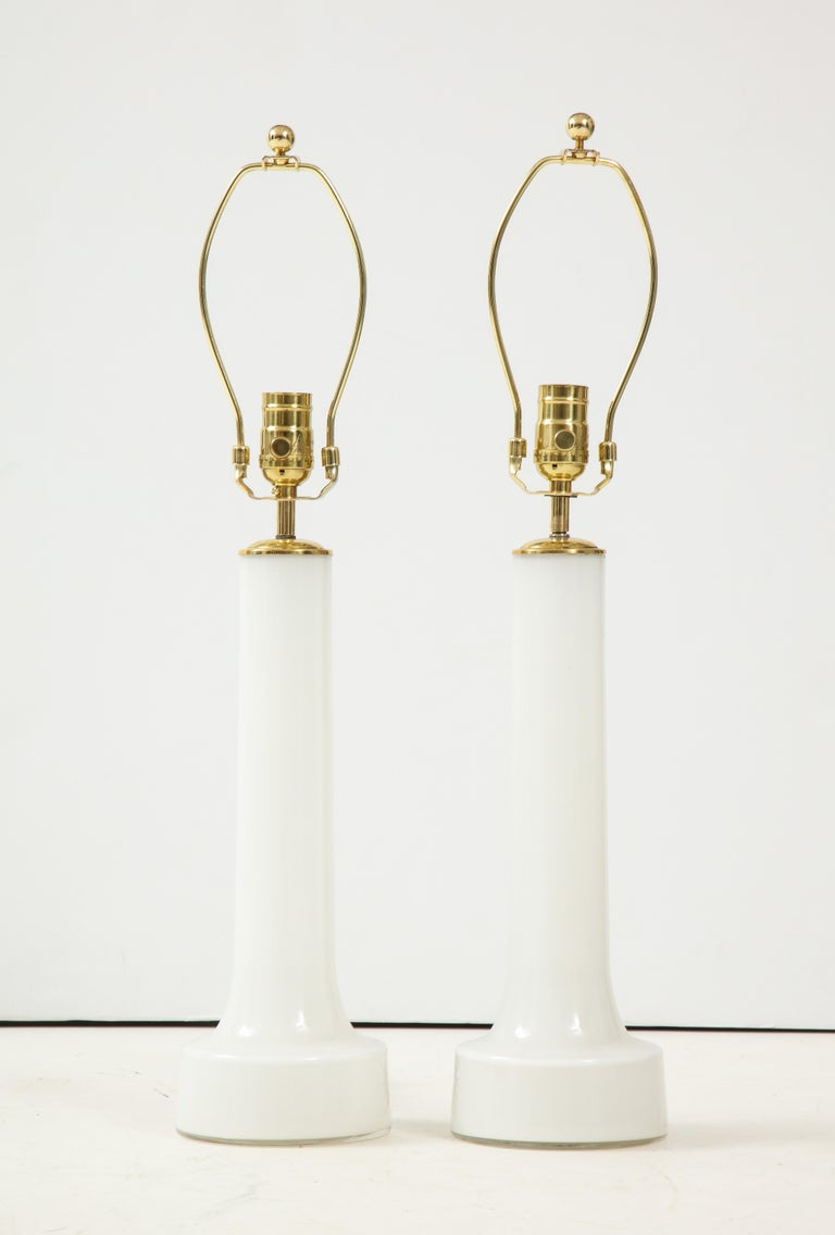 Mid-20th Century Pair of Danish Milk Glass and Brass Mounted Table Lamps, circa 1940s