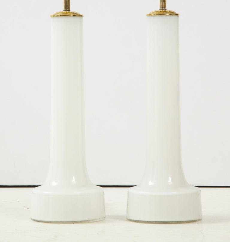 Pair of Danish Milk Glass and Brass Mounted Table Lamps, circa 1940s 1