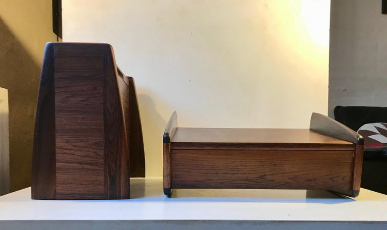 Pair of Danish Modern Floating Rosewood Nightstands by Melvin Mikkelsen, 1960s For Sale 5