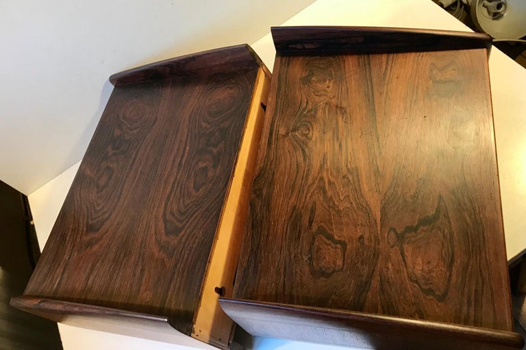 Pair of Danish Modern Floating Rosewood Nightstands by Melvin Mikkelsen, 1960s For Sale 6