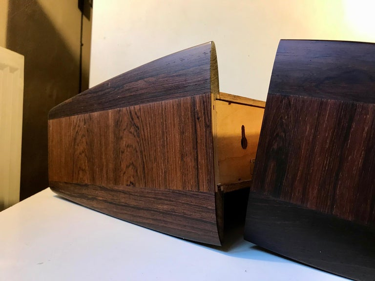 Pair of Danish Modern Floating Rosewood Nightstands by Melvin Mikkelsen, 1960s For Sale 2
