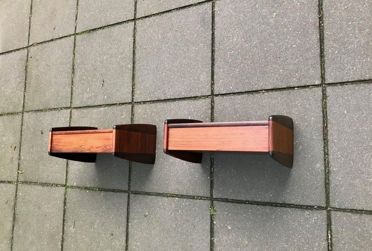Pair of Danish Modern Floating Rosewood Nightstands by Melvin Mikkelsen, 1960s For Sale 3