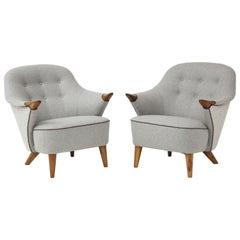 Pair of Danish Tub Back Lounge Chairs by Arne Hovmand-Olsen, circa 1960s