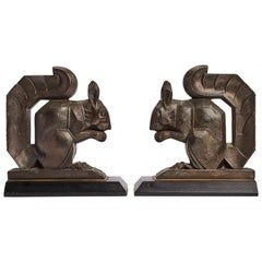 Pair of Deco Squirrel Bookends, France, 1930