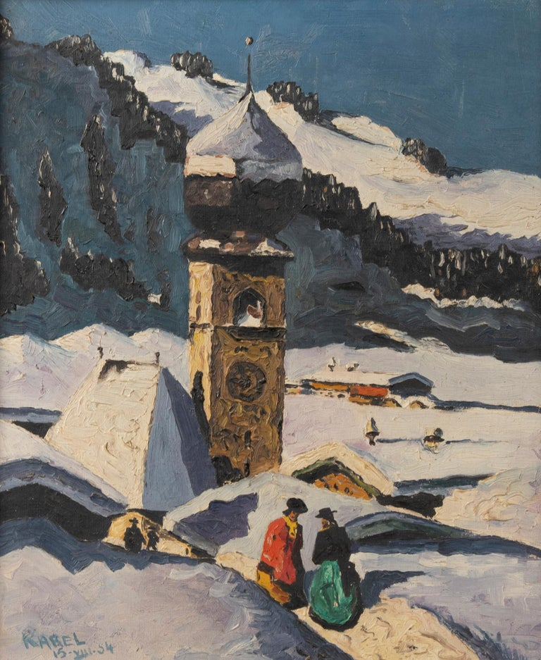 Pair of Decorative Alpine Scene Paintings by K. van Dousselaere, Naive Style For Sale 6
