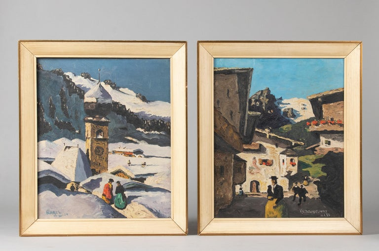 Nice couple of paintings depicting the alpine area. These paintings date from the mid-20th century, 1957. The naïve style really comes into its own here, with the bright colors contrasting nicely with the white snow. One of the two paintings is