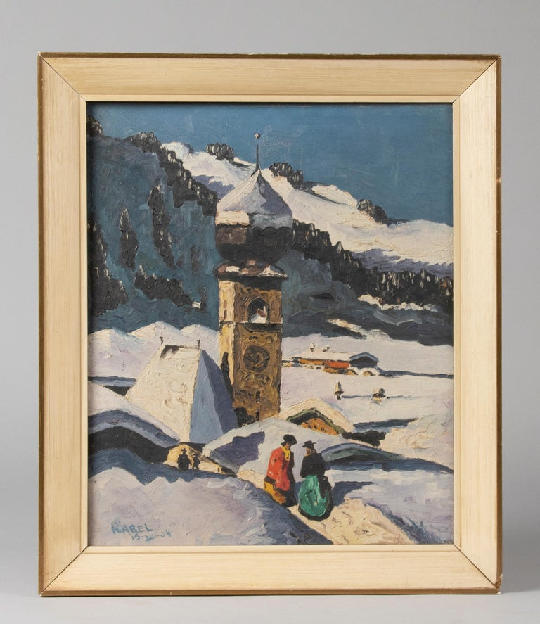 Austrian Pair of Decorative Alpine Scene Paintings by K. van Dousselaere, Naive Style For Sale