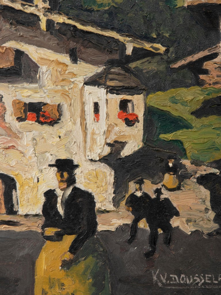 Mid-20th Century Pair of Decorative Alpine Scene Paintings by K. van Dousselaere, Naive Style For Sale