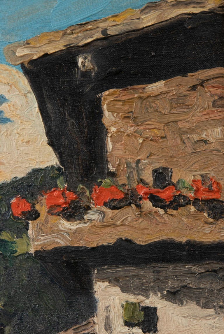 Pair of Decorative Alpine Scene Paintings by K. van Dousselaere, Naive Style For Sale 1