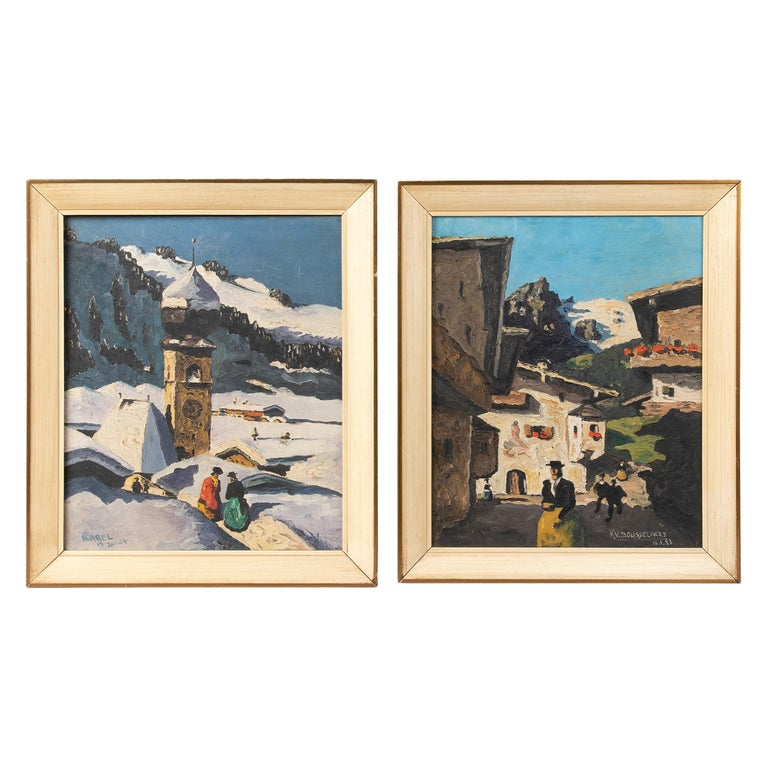 Pair of Decorative Alpine Scene Paintings by K. van Dousselaere, Naive Style For Sale