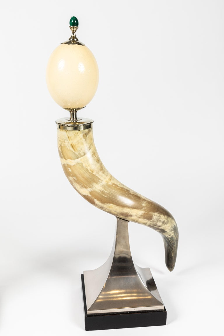 Pair of Decorative Horn and Ostrich Egg Garnitures by Antony Redmile For Sale 3