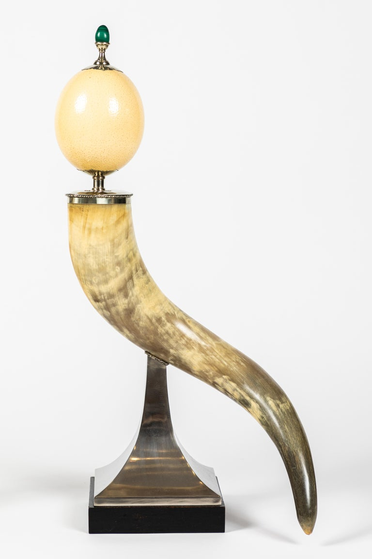 Mid-Century Modern Pair of Decorative Horn and Ostrich Egg Garnitures by Antony Redmile For Sale
