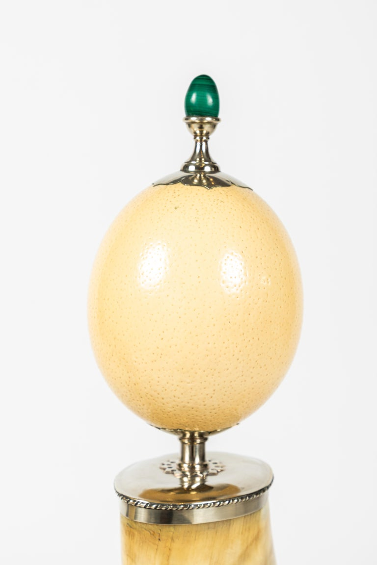 Pair of Decorative Horn and Ostrich Egg Garnitures by Antony Redmile In Good Condition For Sale In Los Angeles, CA