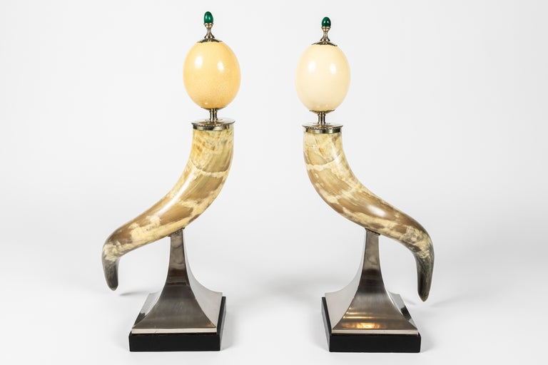 Pair of Decorative Horn and Ostrich Egg Garnitures by Antony Redmile For Sale 1