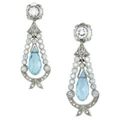 Pair of Diamond and Aquamarine Drop Earrings