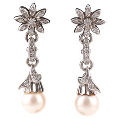 Pair of Diamond and Cultured Pearl Ear Pendants