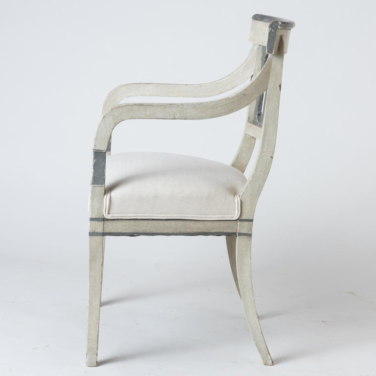 French Pair of Directoire Period Armchairs, France, circa 1820 For Sale